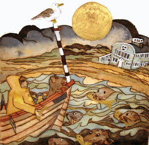 they met once again with the golden moon a gift of swimmers unseen by all, blakeneyblakeney