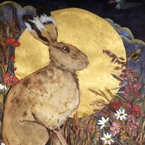 golden Summer's Eve saw hare and swallow by willow herb and corn