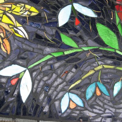 More Flowers in a Tiled Mosaic Panel