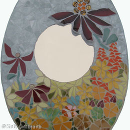 Oval Mirror with Orange Flowers