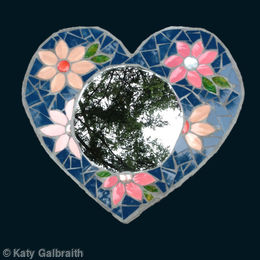 Heart Mirror with pink flowers