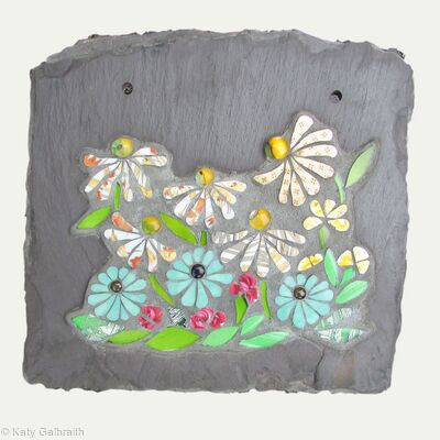 Garden Mosaic Panel on Slate