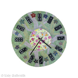 Pink and Green Domino Clock