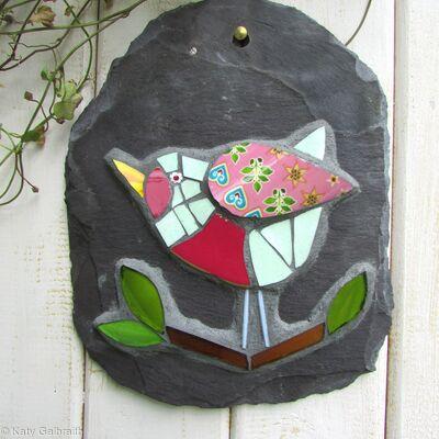 Bird on a Slate Mosaic