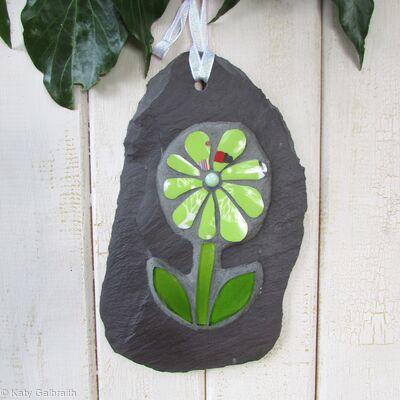 Lime Green Flower on Slate