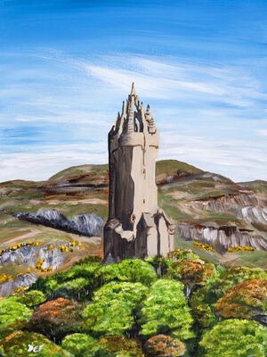 Wallace Monument - Acrylic on paper, mounted: www.eliseferguson.co.uk/sold-paintings/25088_wallace-monument.html