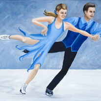 Ice Dancers in Blue