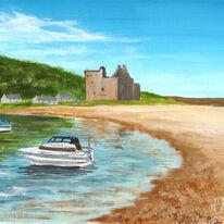 Boats by Lochranza Castle, Arran