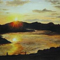 Sunset over Loch Staonaig, Iona