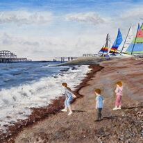 Throwing stones on Brighton Beach