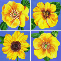 Summer flowers in yellow and gold