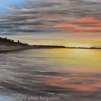 Bamburgh Sunset Reflections