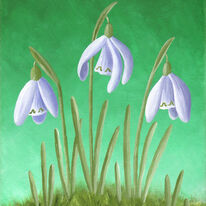 Three Snowdrops in Grass