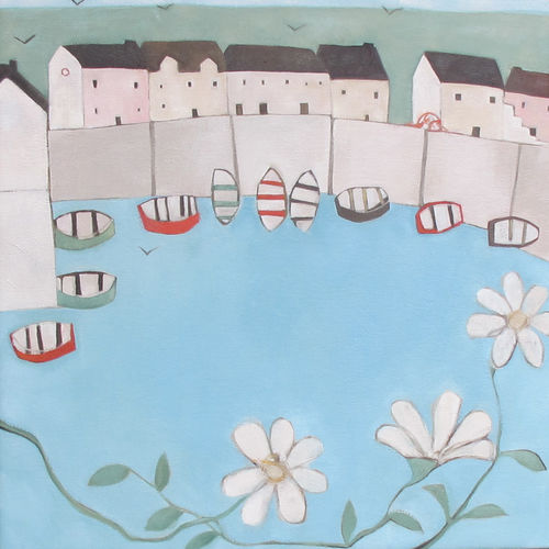 Daisies Over a Cornish Bay