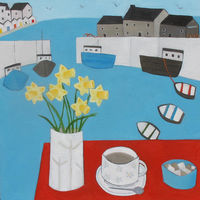 Tea and Daffs at the cafe, Lyme Regis