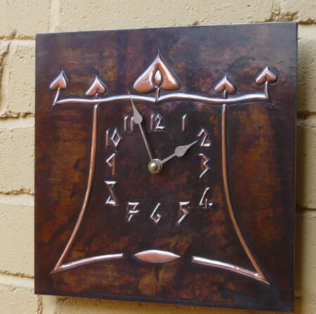 Arts & Crafts wall clock (ACC 6) - copper and brass