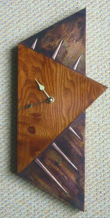 copper and timber wall clock... C7