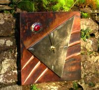 copper/ pewter wall clock  C4