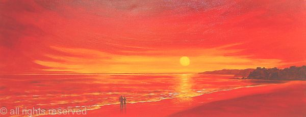Romantic Couple at Red Sunset