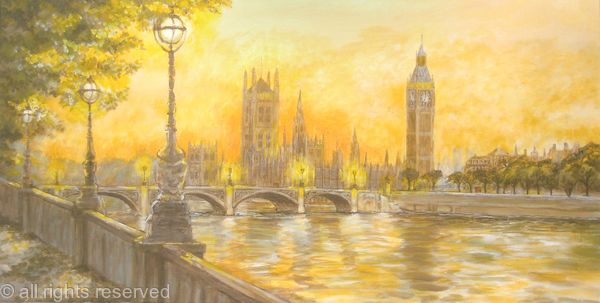 Houses of Parliament from the Embankment. London