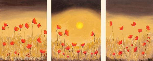 Chocolate Poppy Gold triptch