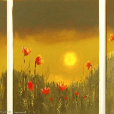 Chocolate Sunset Poppy Field Triptych