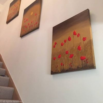 Gold poppy triptych in situ