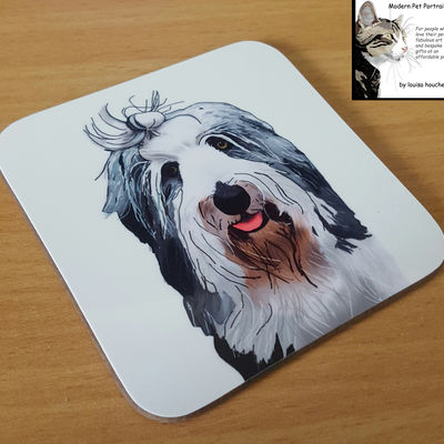 Individual Coaster or Set of 4/8/12 etc (featuring Your pet's pawtrait)