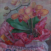 Orchids on a pink t-shirt