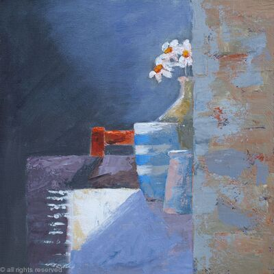Daisies with orange chair