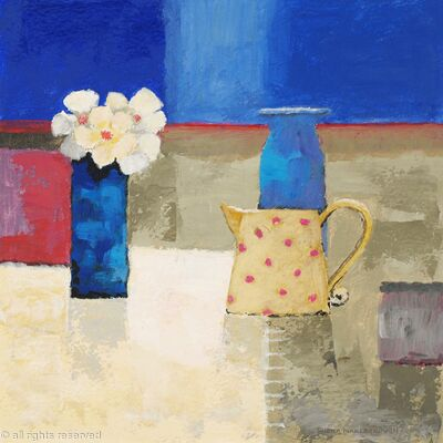 Yellow jug with pink spots