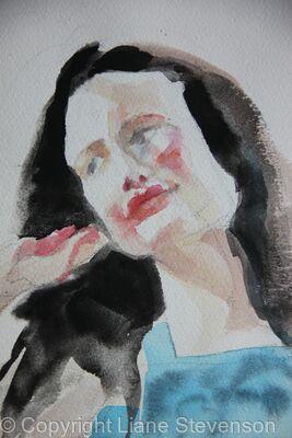 Rachel, watercolour,detail.