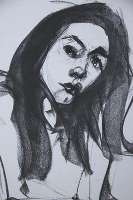 Black-haired girl, detail