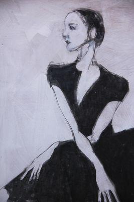 Ballerina, seated. detail