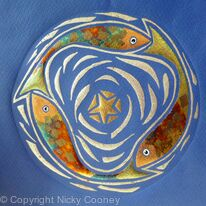 THREE FISHES AND A STAR on Dark Blue