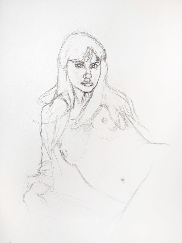 Girl reclining pencil sketch