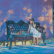 Young Girl On Bench With Red Shoes