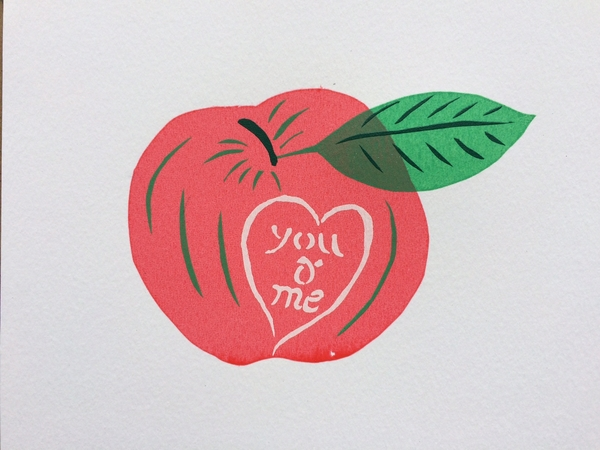 Apple carved with You & Me