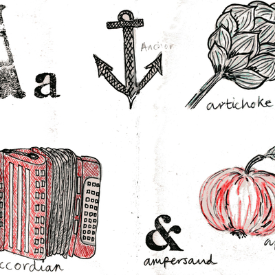 Sketchbook alphabet ideas- A