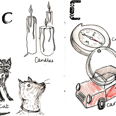 Sketchbook alphabet ideas- C