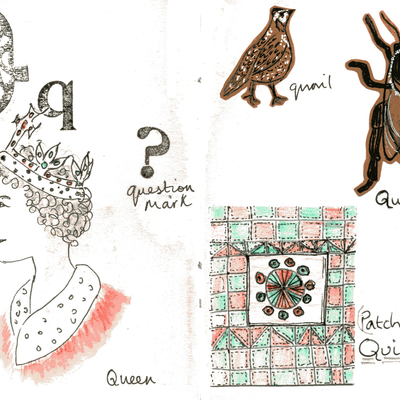 Sketchbook alphabet ideas- Q