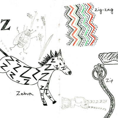 Sketchbook alphabet ideas- Z