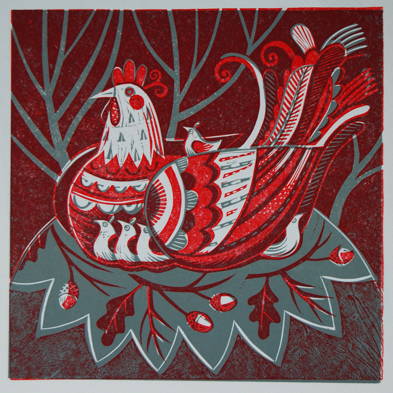 Hen Two Colour Relief Print