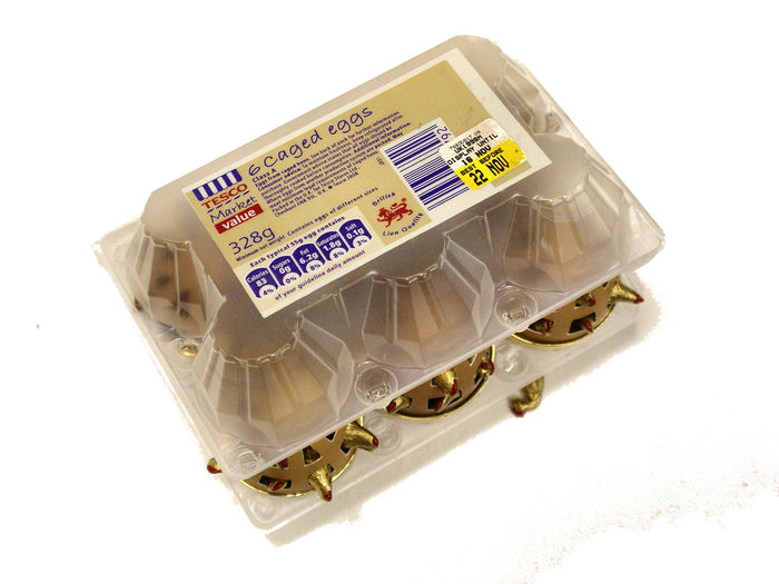 6 Caged Eggs Plastic Eggbox 6 Eggshells Brass Gold