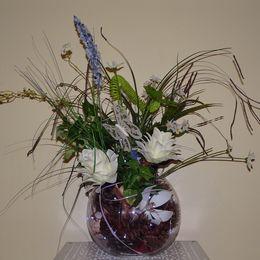 Bowl - white flower & grass