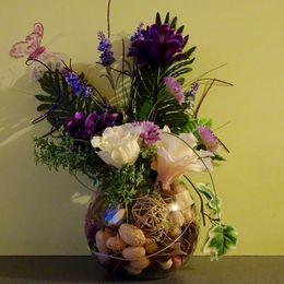 Bowl - purple & cream flowers