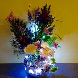 Bowl - purple & cream flowers (white lights)