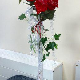 Red & White Poinsetta Vase