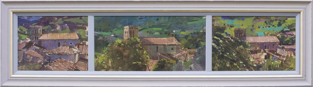 Triptych . 3 Views , St Lizier from the Bishops Palace