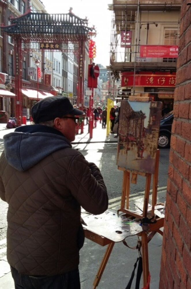 Painting in Chinatown London,  Chinese New Year Feb 2016